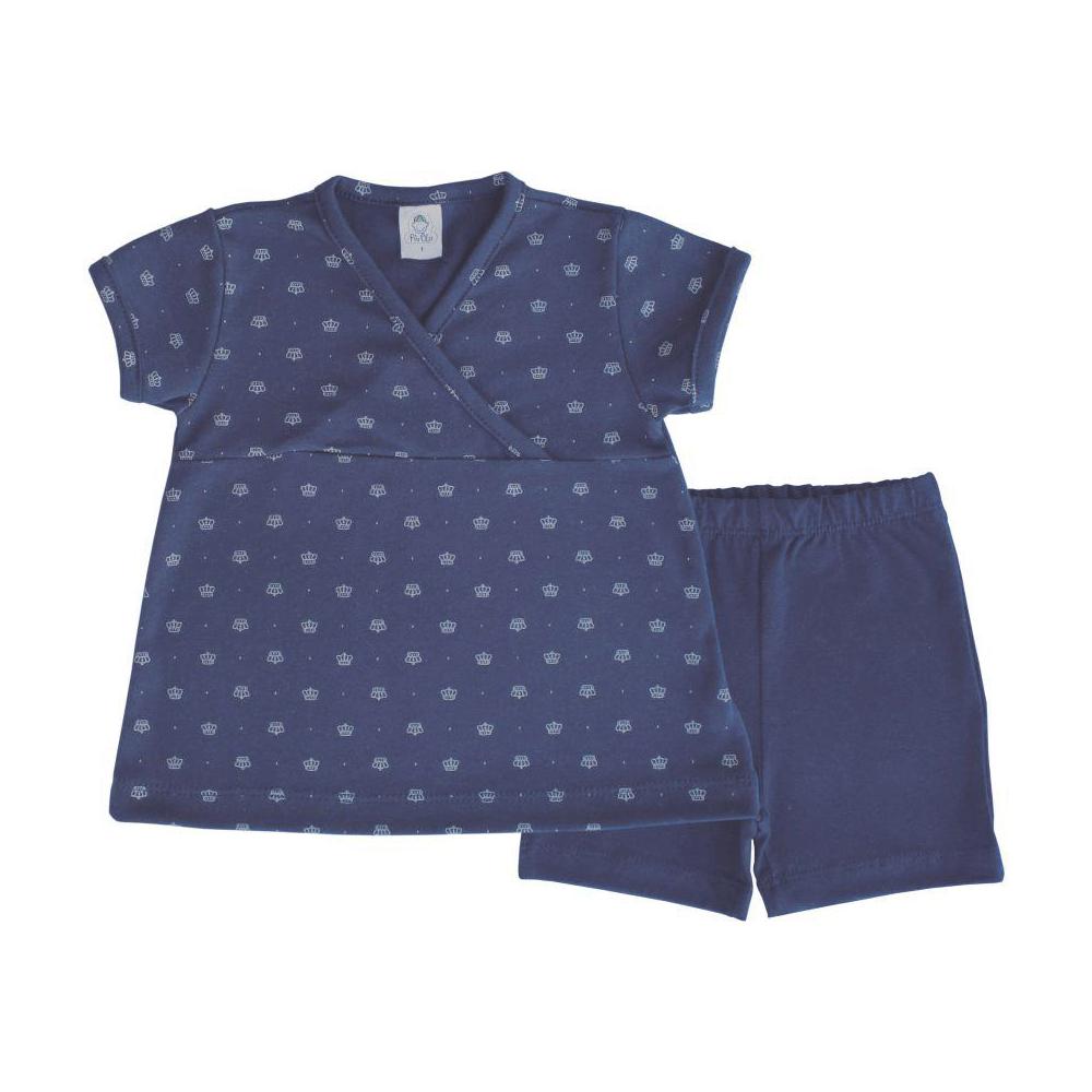 Conjunto Bebê Curto Coroa  - Piu Blu