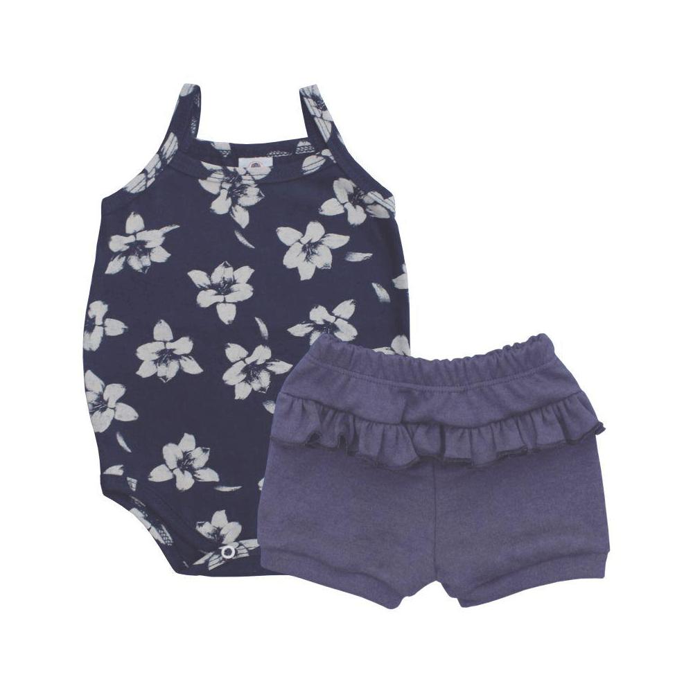 Conjunto Bebê Curto Alcinha Floral  - Piu Blu