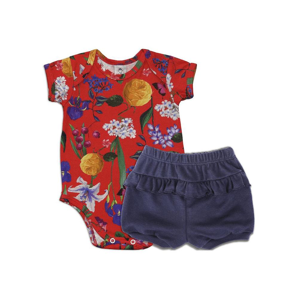 Conjunto Bebê Curto Floral Vermelho  - Piu Blu