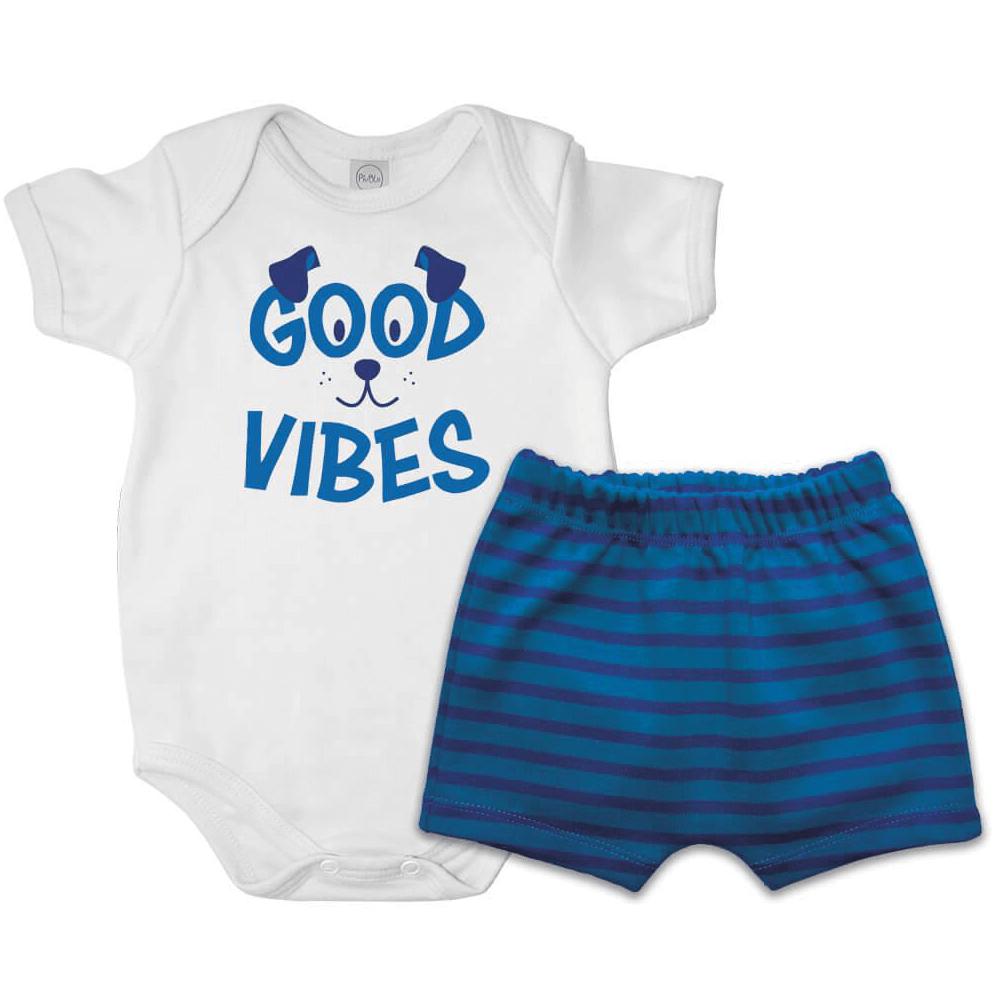 Conjunto Bebê Curto Good Vibes  - Piu Blu