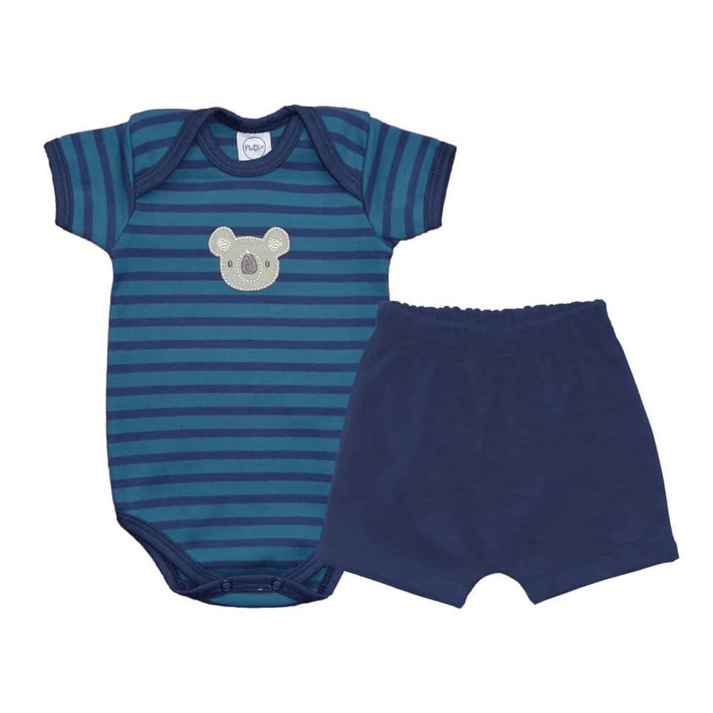 Conjunto Bebê Curto Listrado Coalinha Azul  - Piu Blu