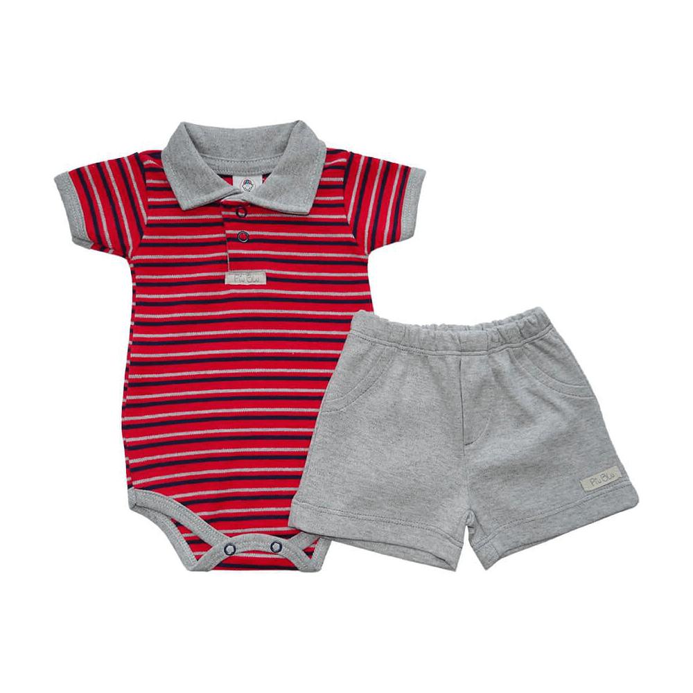 Conjunto Bebê Curto Listrado Polo Vermelho  - Piu Blu
