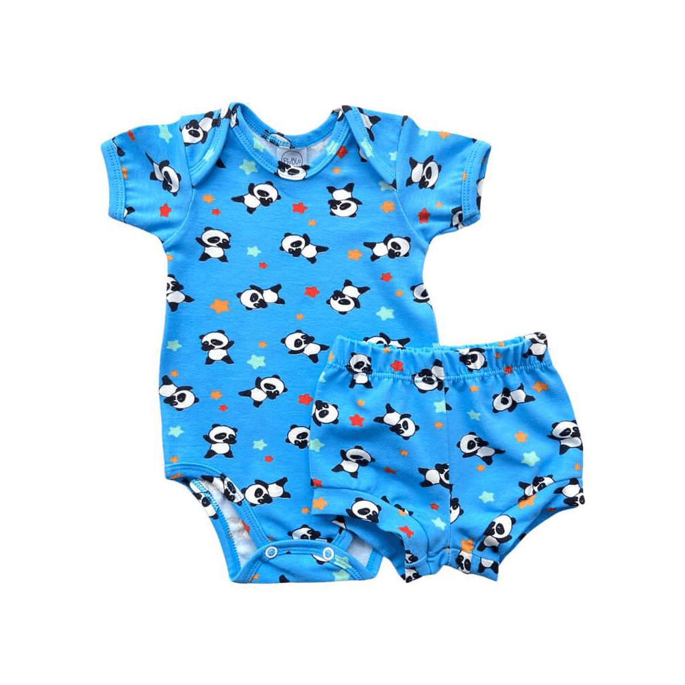 Conjunto Bebê Curto Panda Azul  - Piu Blu