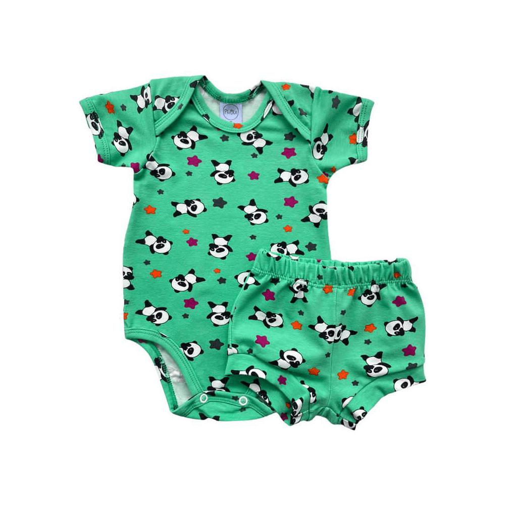 Conjunto Bebê Curto Panda Verde  - Piu Blu