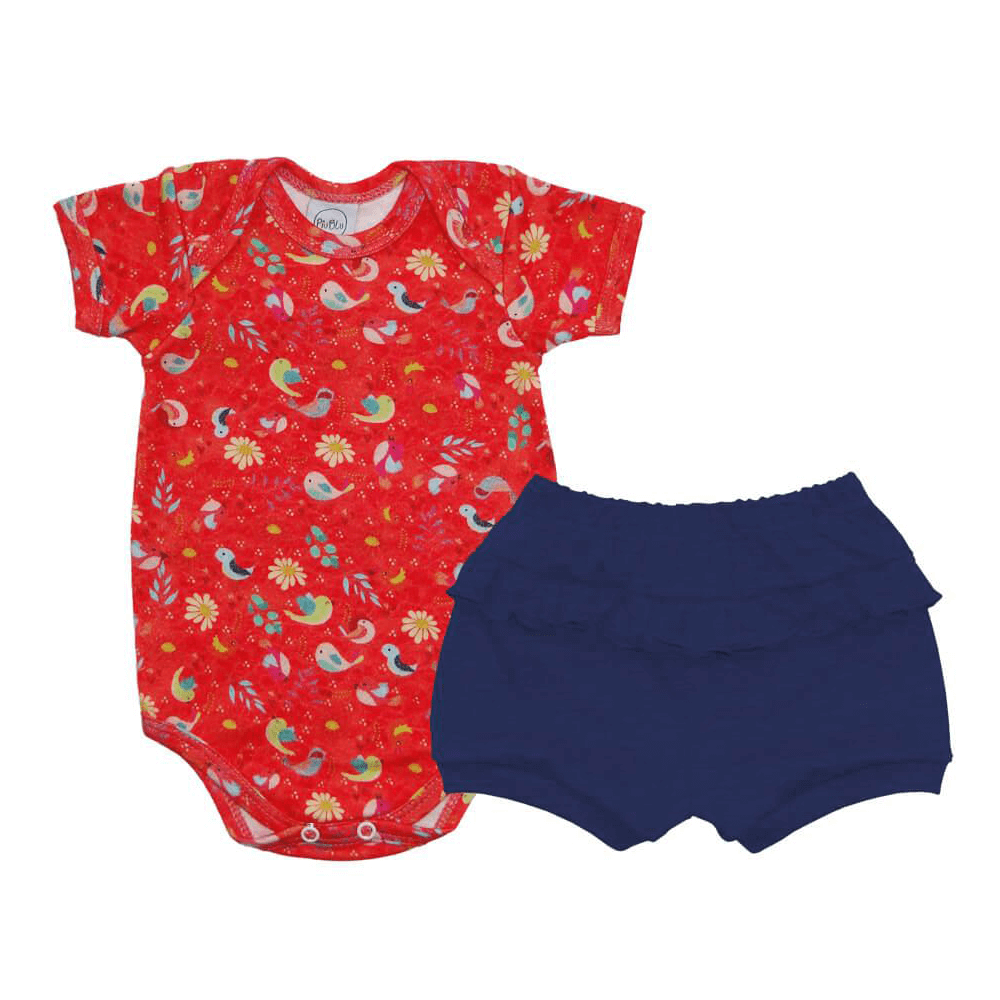 Conjunto Bebê Curto Passarinho Vermelho  - Piu Blu