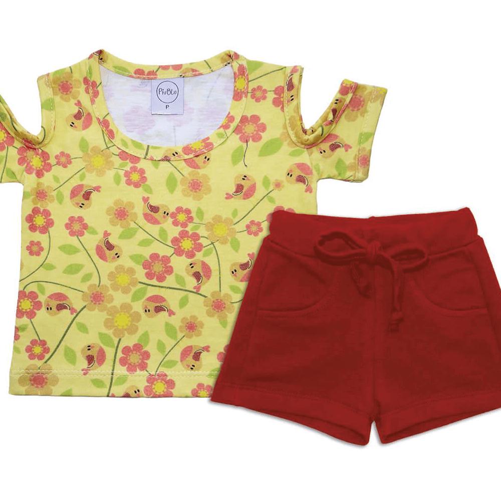 Conjunto Bebê Curto Passarinhos - 1 ao 3