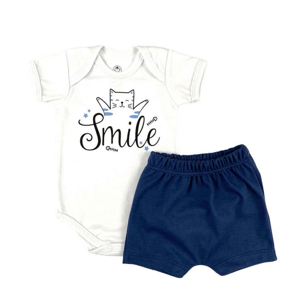 Conjunto Bebê Curto Smile Azul Jeans  - Piu Blu