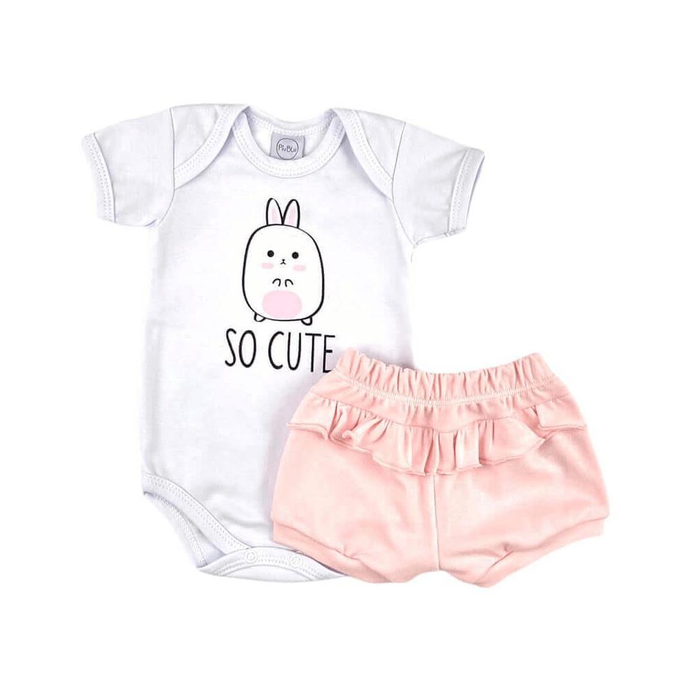 Conjunto Bebê Curto So Cute Rosa  - Piu Blu