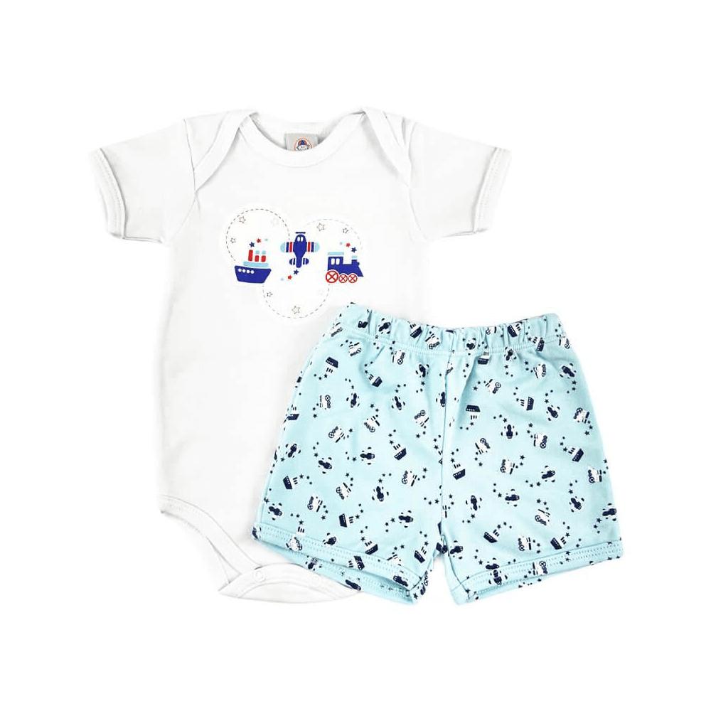 Conjunto Bebê Curto Transportes  - Piu Blu