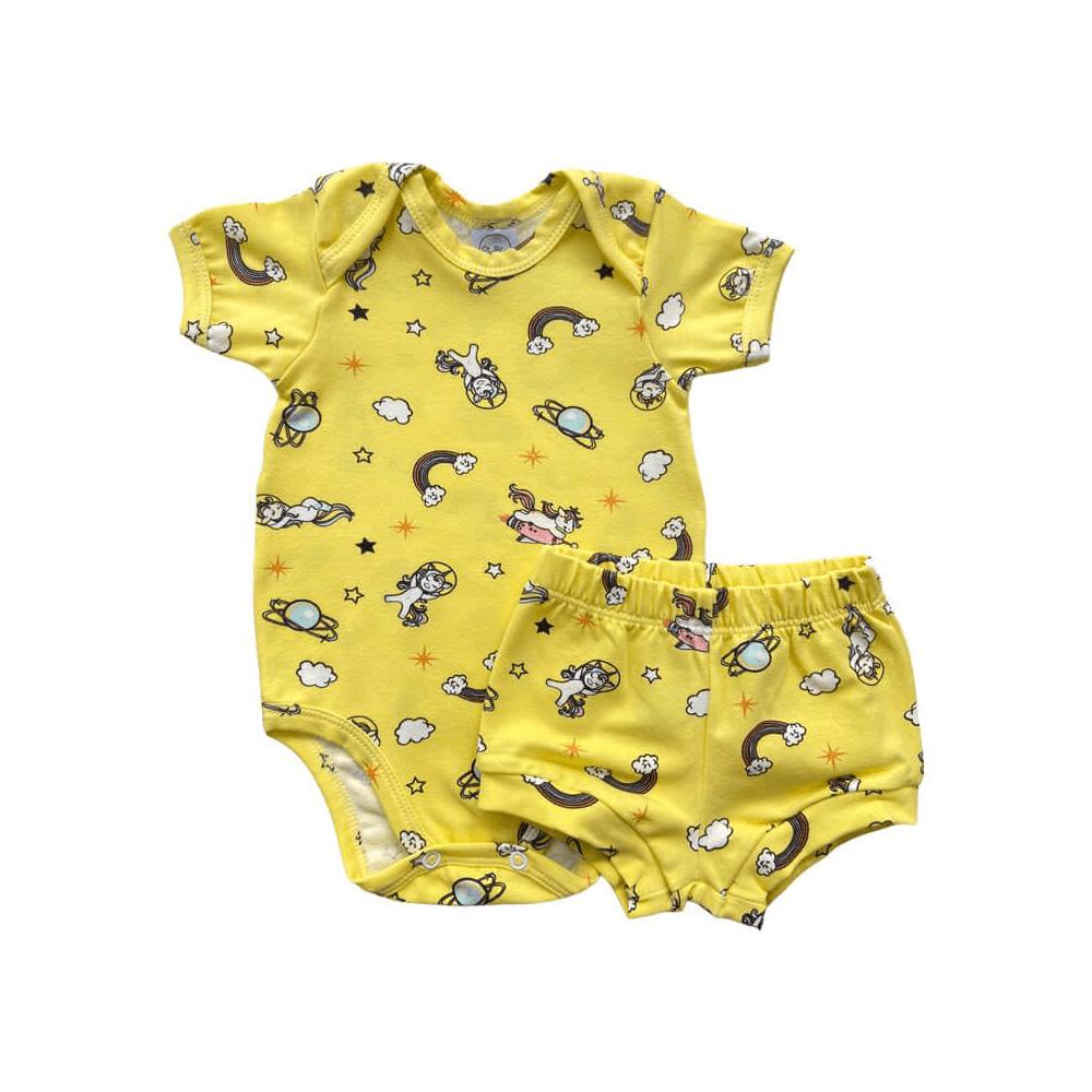 Conjunto Bebê Curto Unicórnio Amarelo  - Piu Blu