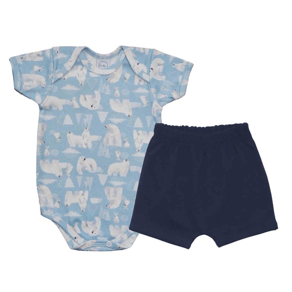 Conjunto Bebê Curto Urso Polar  - Piu Blu