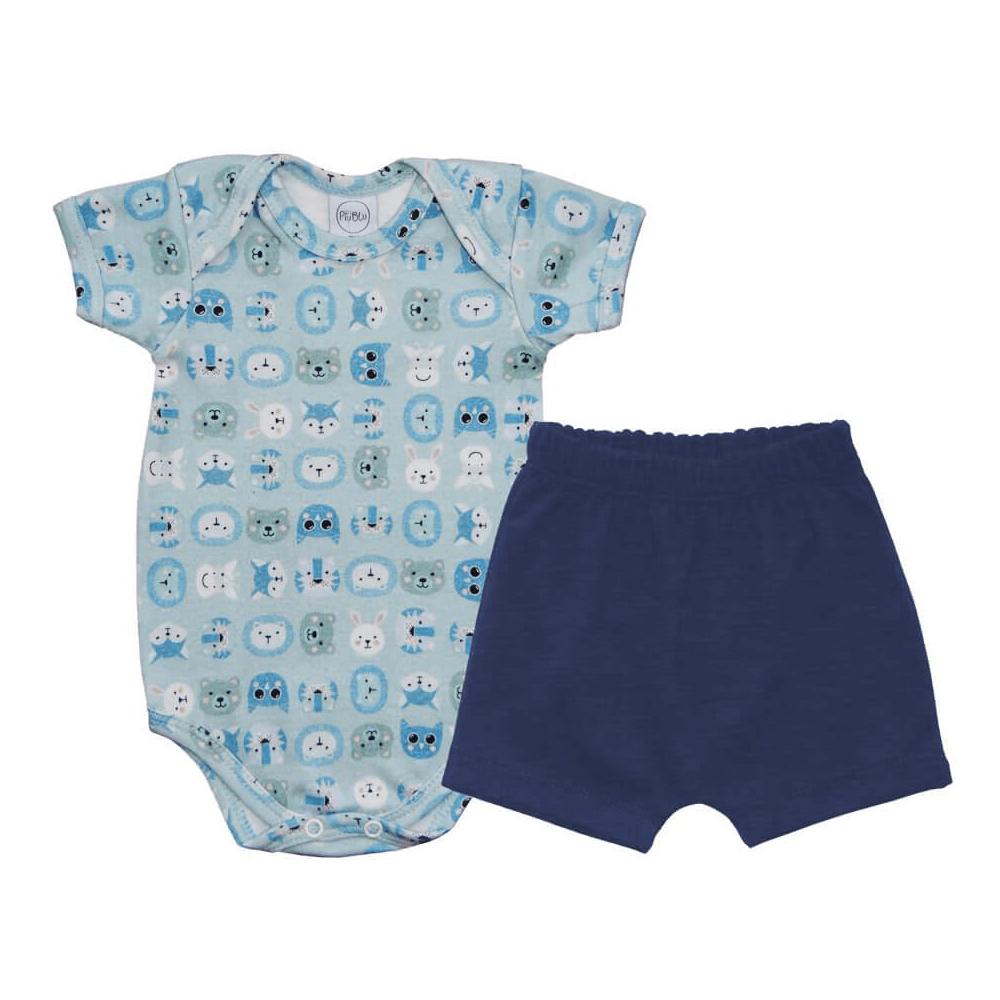 Conjunto Bebê Curto Zoo Azul  - Piu Blu