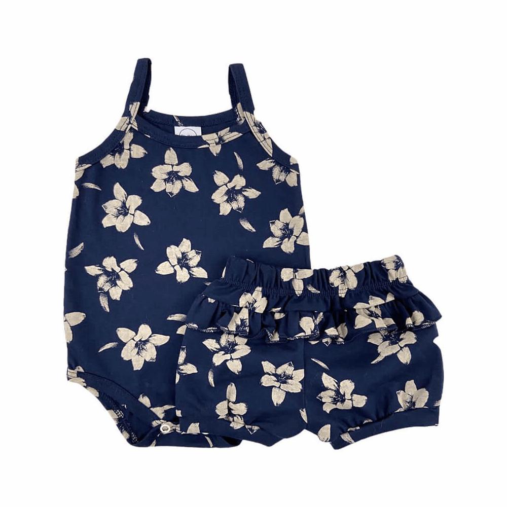 Conjunto Bebê Curto Floral Marinho  - Piu Blu