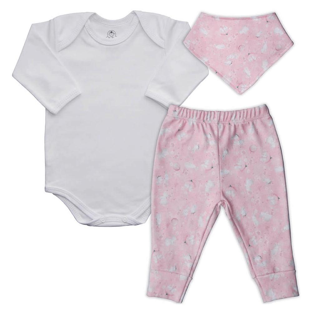 Conjunto Bebê Longo Bandana Bebê Coelhinho  - Piu Blu