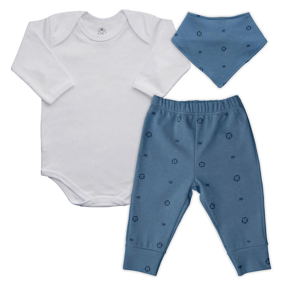 Conjunto Bebê Longo Bandana Leãozinho  - Piu Blu