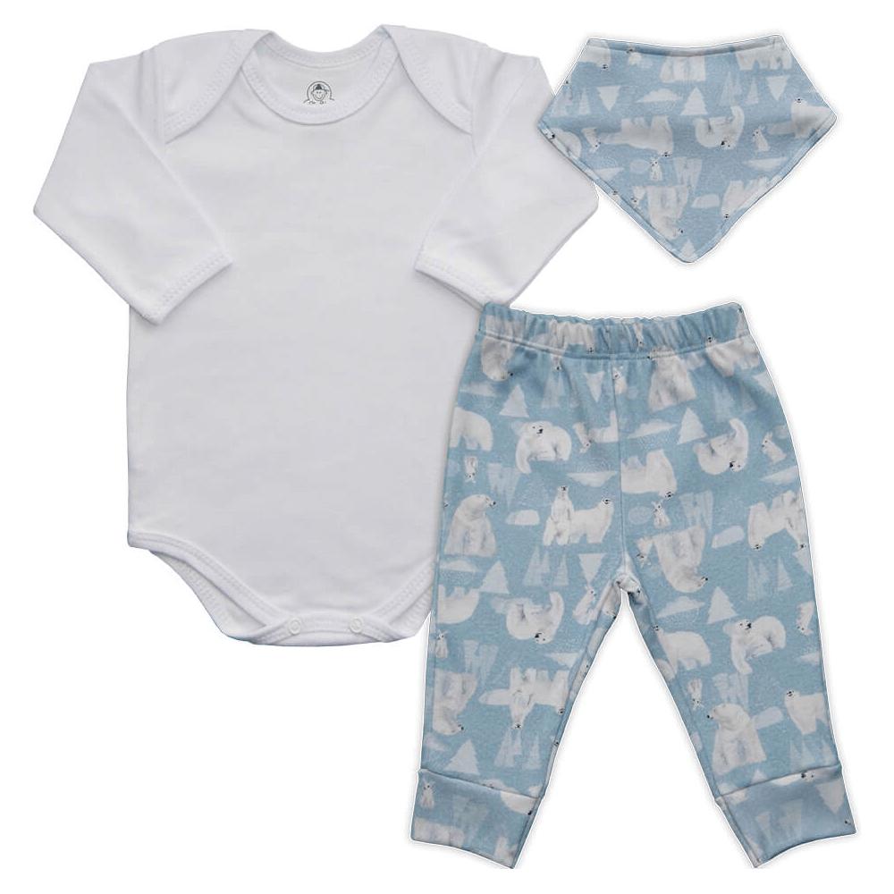 Conjunto Bebê Longo Bandana Urso Polar  - Piu Blu