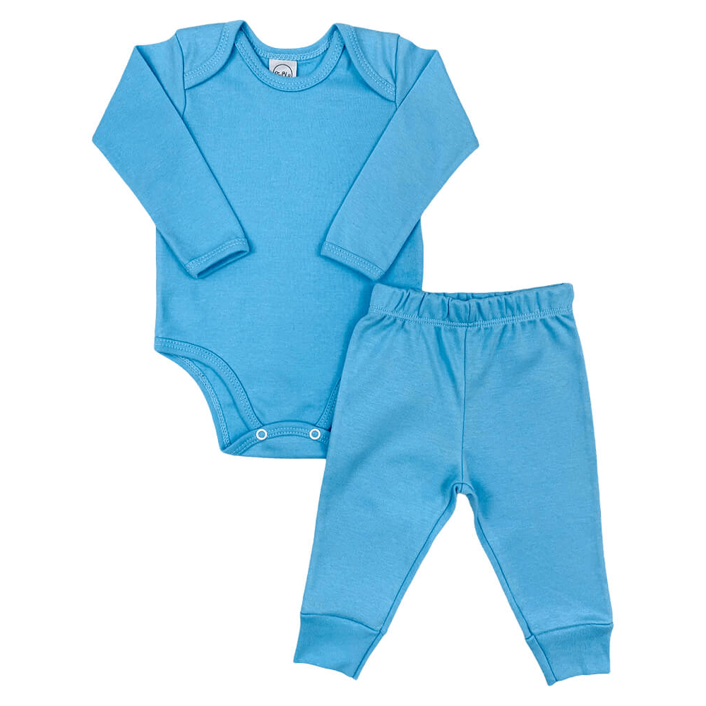 Conjunto Bebê Longo Básico Azul  - Piu Blu