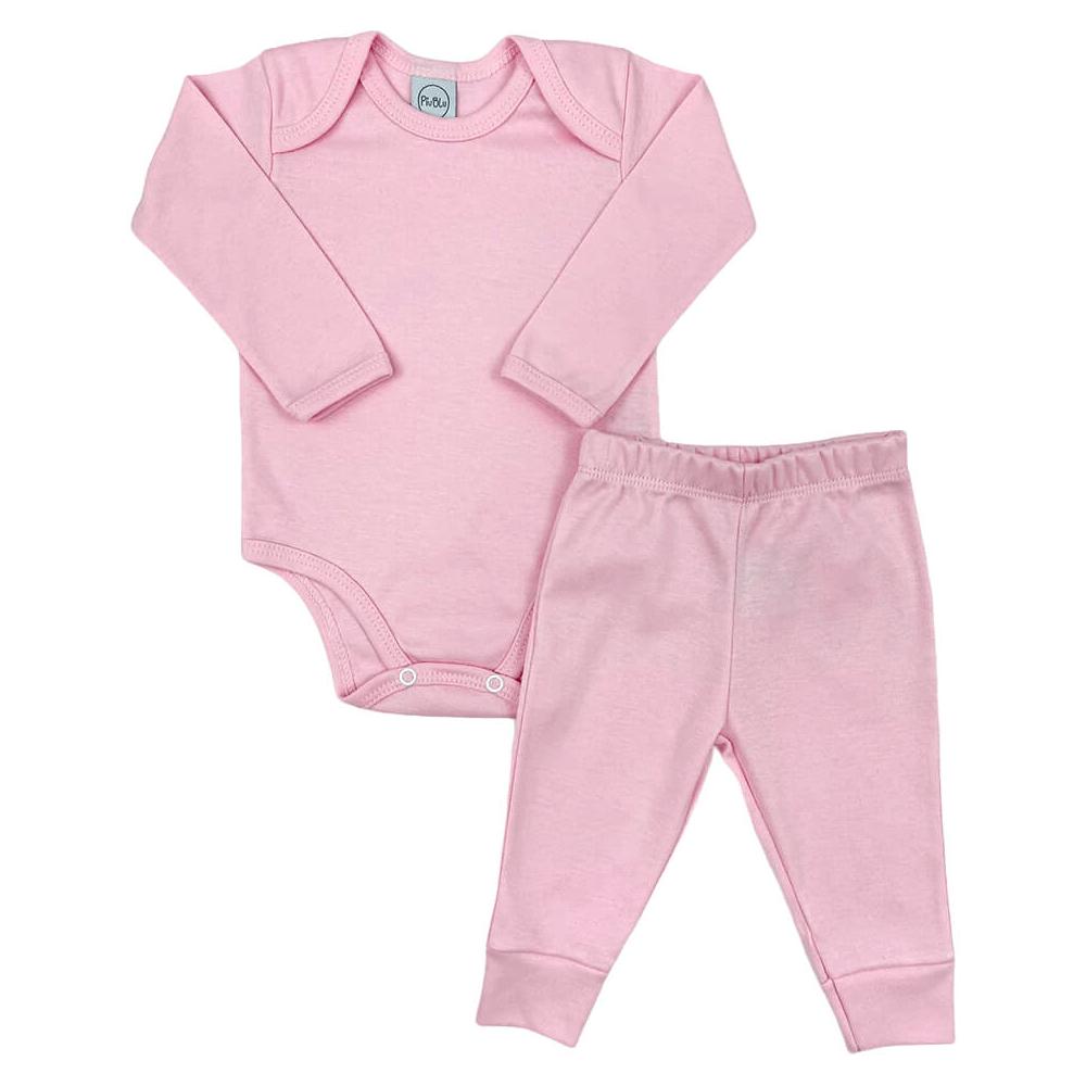 Conjunto Bebê Longo Básico Rosa - 1 ao 3  - Piu Blu