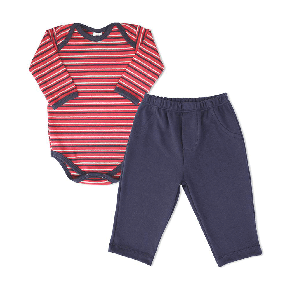 Conjunto Bebê Longo Body Bebê Listrado  - Piu Blu