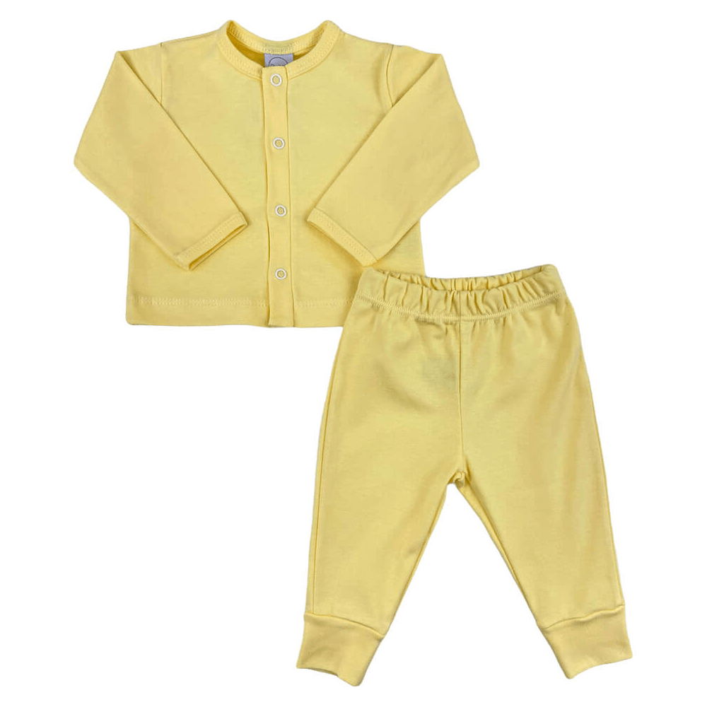 Conjunto Bebê Longo Casaquinho Amarelo  - Piu Blu