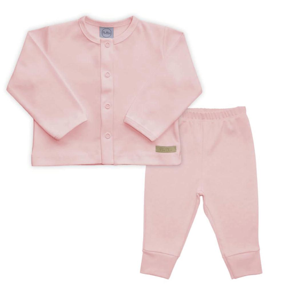 Conjunto Bebê Longo Casaquinho  Rosa