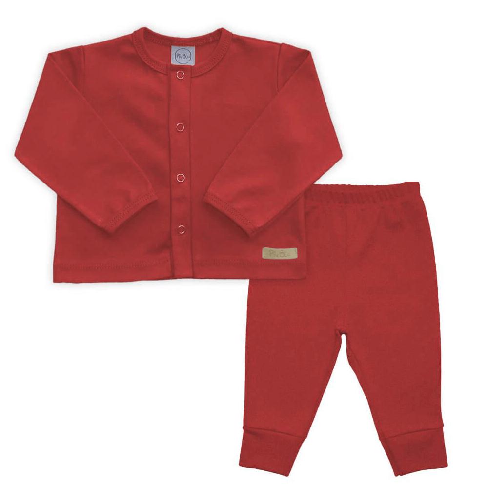 Conjunto Bebê Longo Casaquinho Vermelho