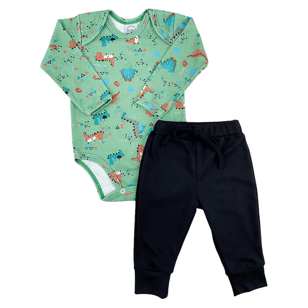 Conjunto Bebê Longo Dino  - Piu Blu