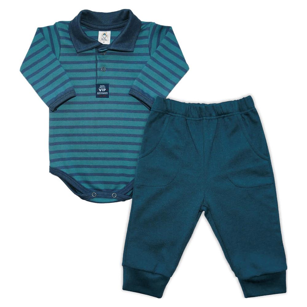 Conjunto Bebê Longo Listrado Polo Marinho  - Piu Blu