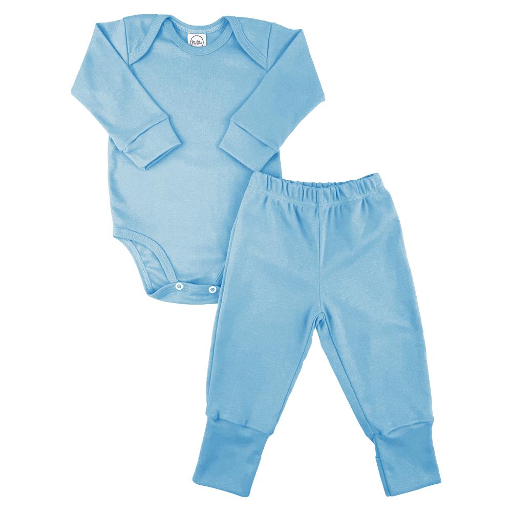 Conjunto Bebê Longo Pezinho Reversível Underwear Azul  - Piu Blu
