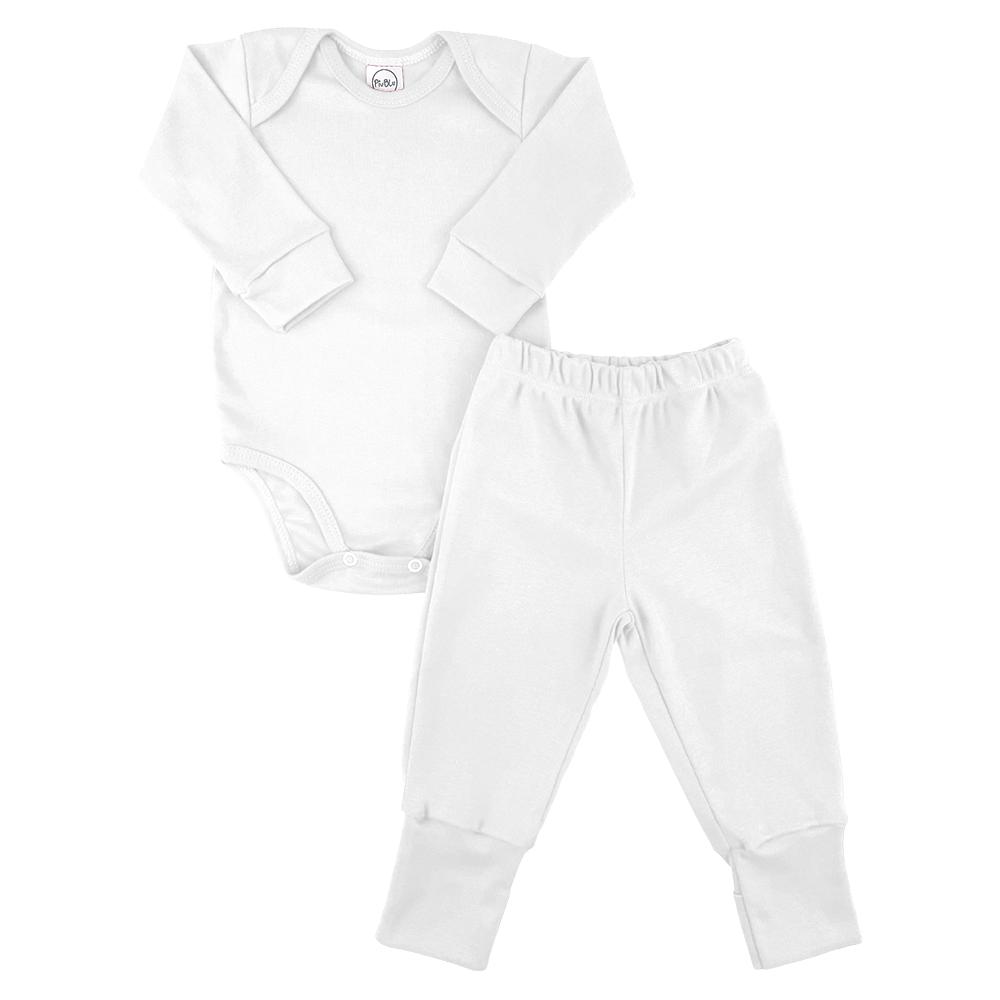 Conjunto Bebê Longo Pezinho Reversível Underwear Branco  - Piu Blu