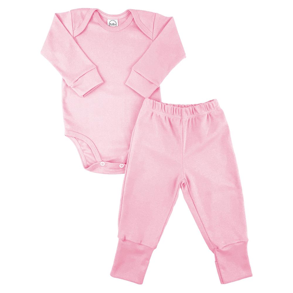 Conjunto Bebê Longo Pezinho Reversível Underwear Rosa  - Piu Blu