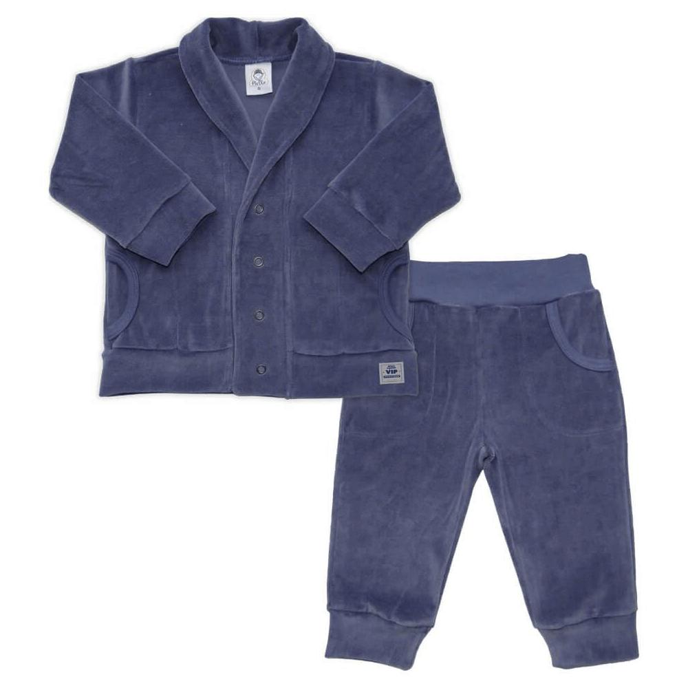 Conjunto Bebê Longo Plush Marinho  - Piu Blu