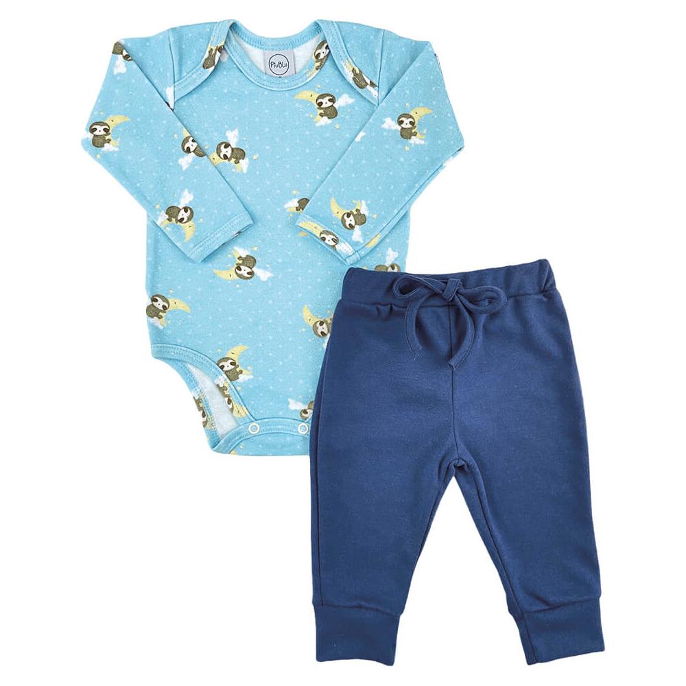 Conjunto Bebê Longo Preguiça  - Piu Blu