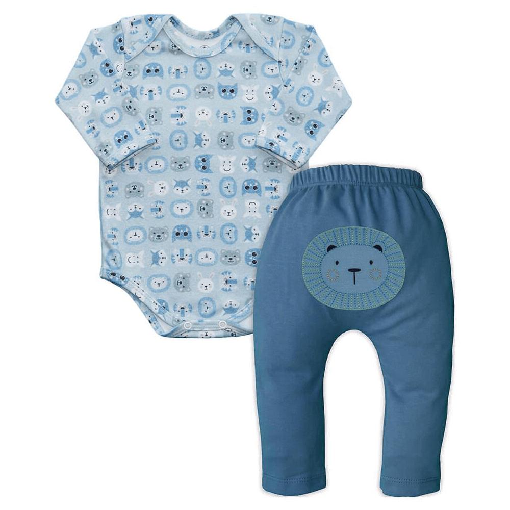 Conjunto Bebê Longo Saruel Zoo  - Piu Blu