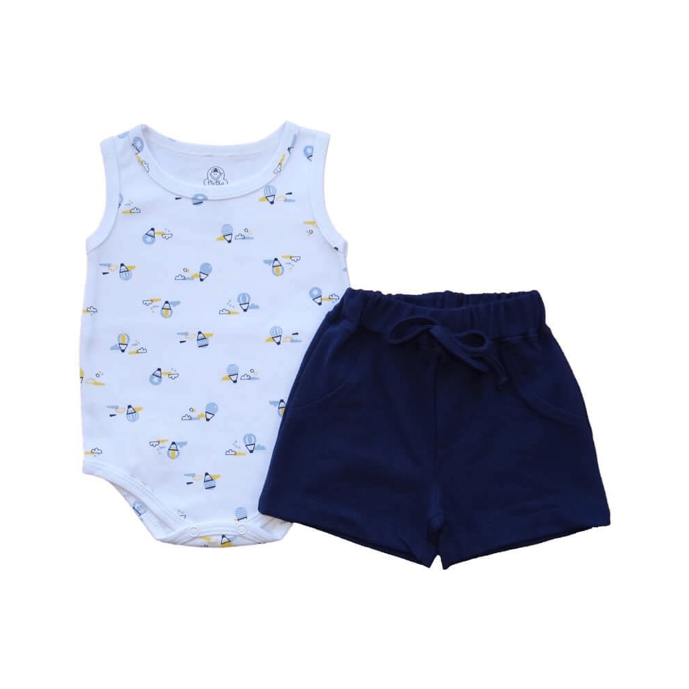 Conjunto Bebê Curto Regata Balãozinho  - Piu Blu