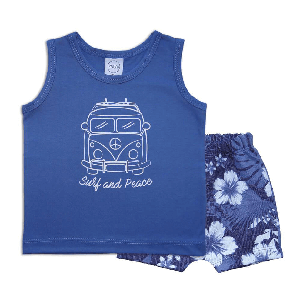 Conjunto Bebê Regata Kombi - 1 ao 3  - Piu Blu