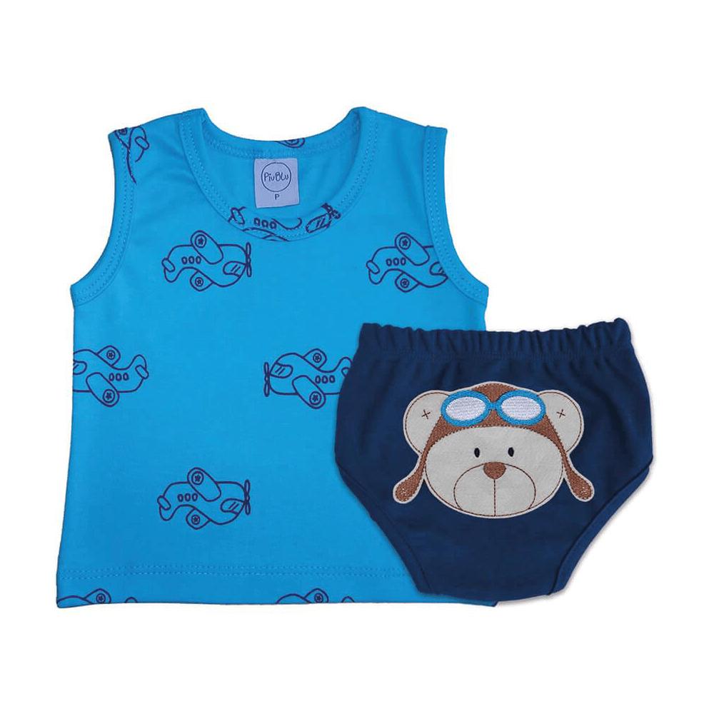 Conjunto Bebê Curto Aviões  - Piu Blu