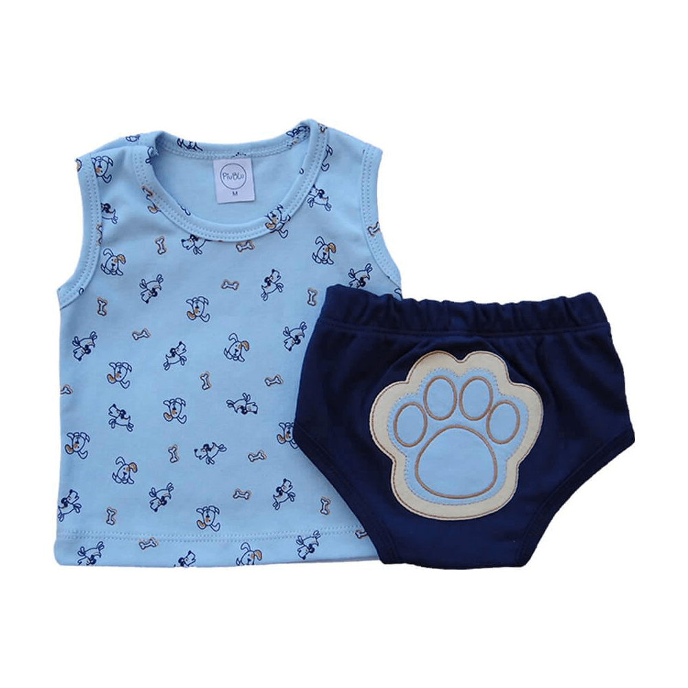 Conjunto Bebê Tapa Fralda Cachorrinhos  - Piu Blu