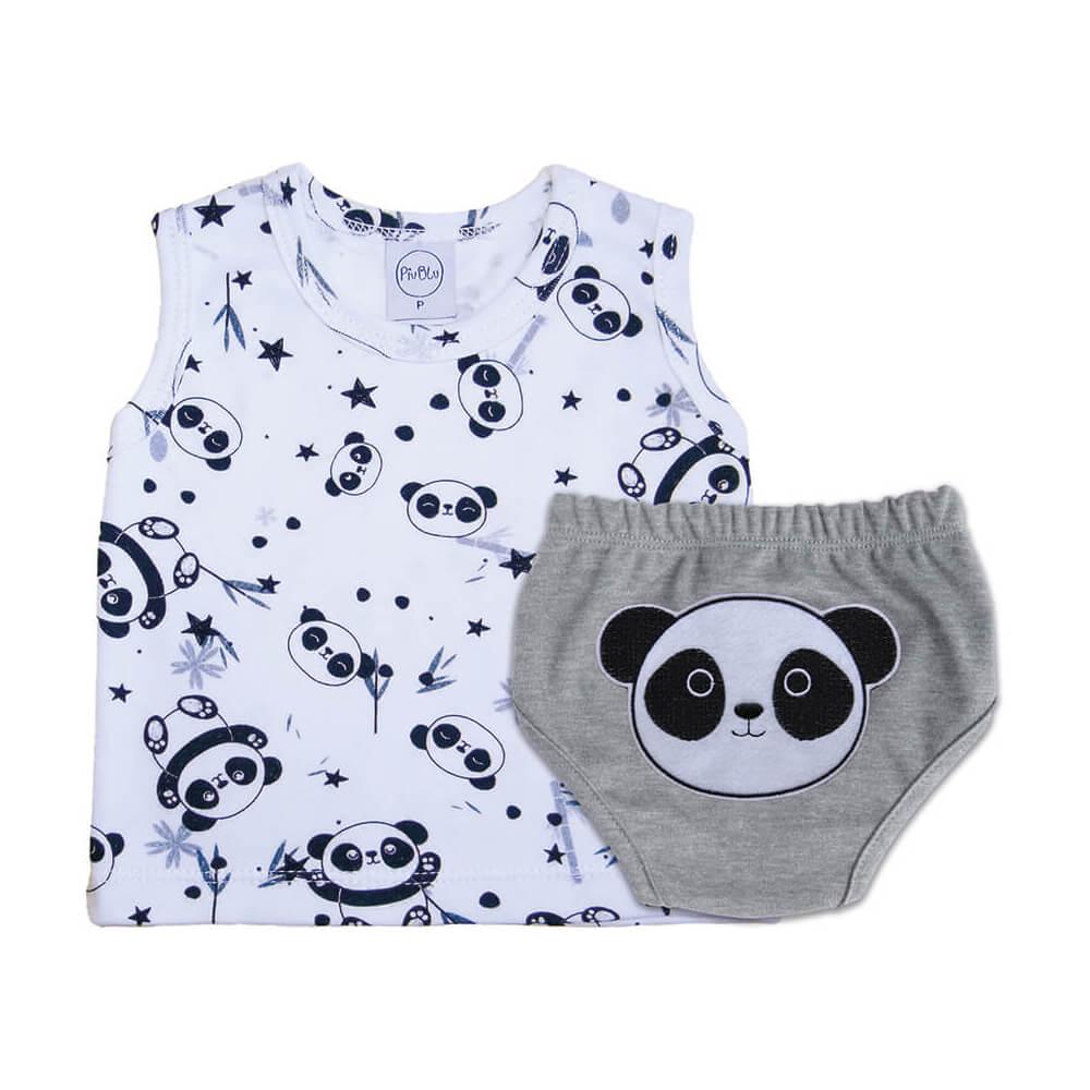 Conjunto Bebê Curto Pandas