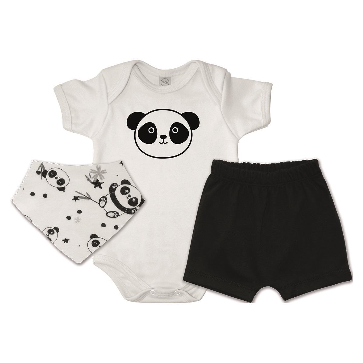 Conjunto Curto Bandana Pandas  - Piu Blu