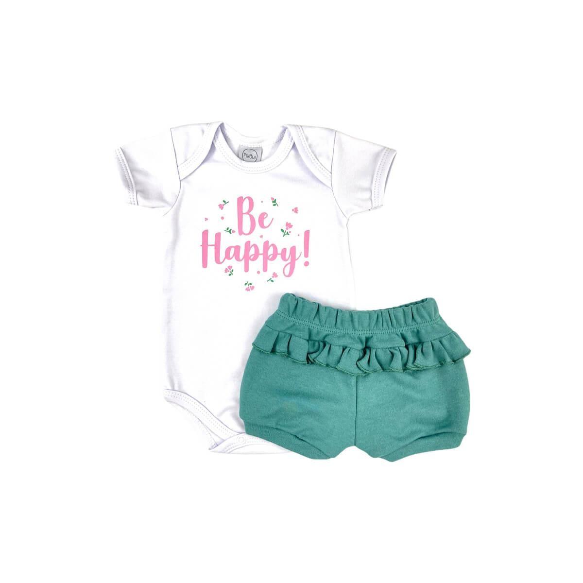 Conjunto Curto Be Happy Verde  - Piu Blu