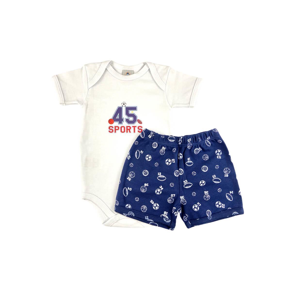 Conjunto Bebê Curto Esportes Branco  - Piu Blu