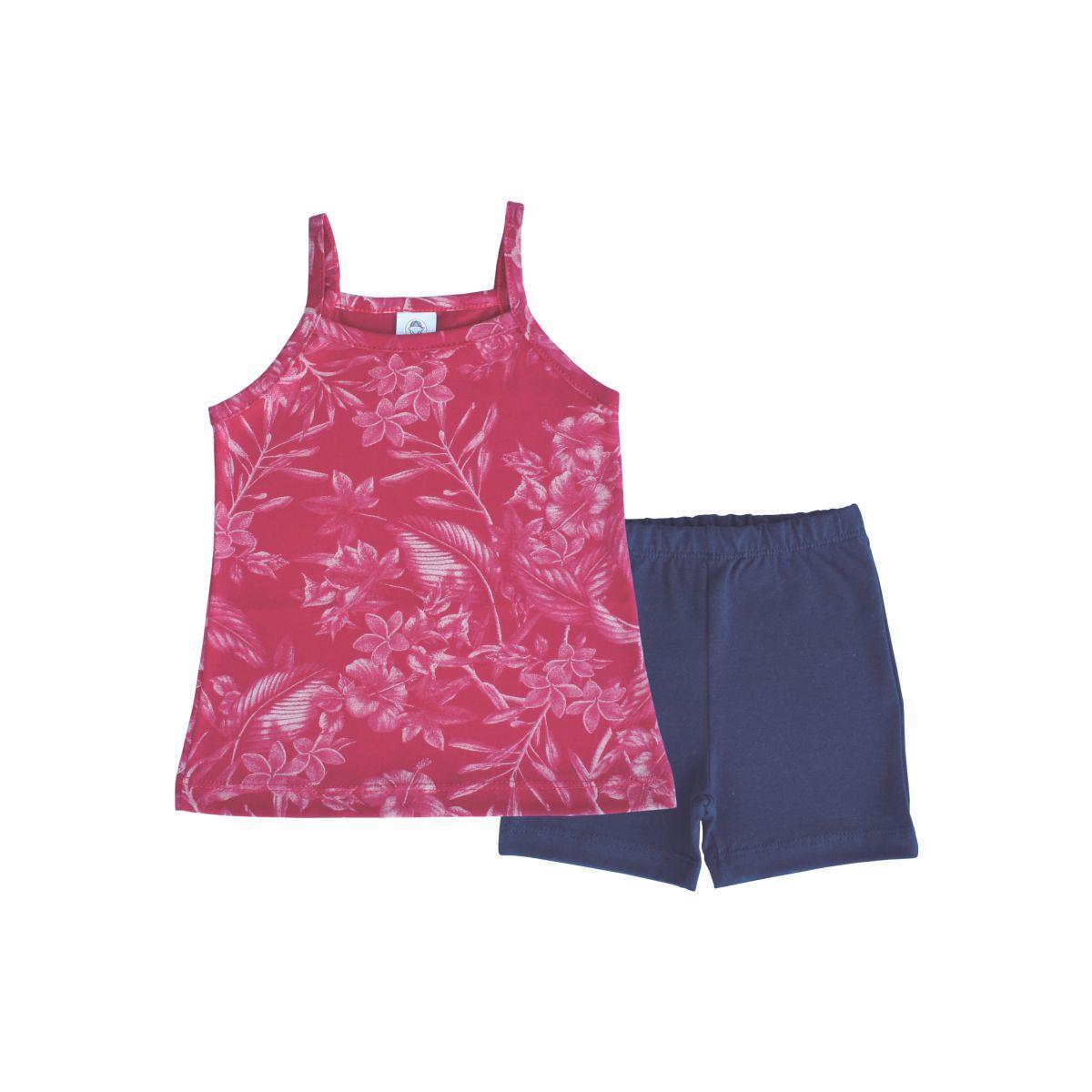 Conjunto Curto Floral - 1 ao 3  - Piu Blu