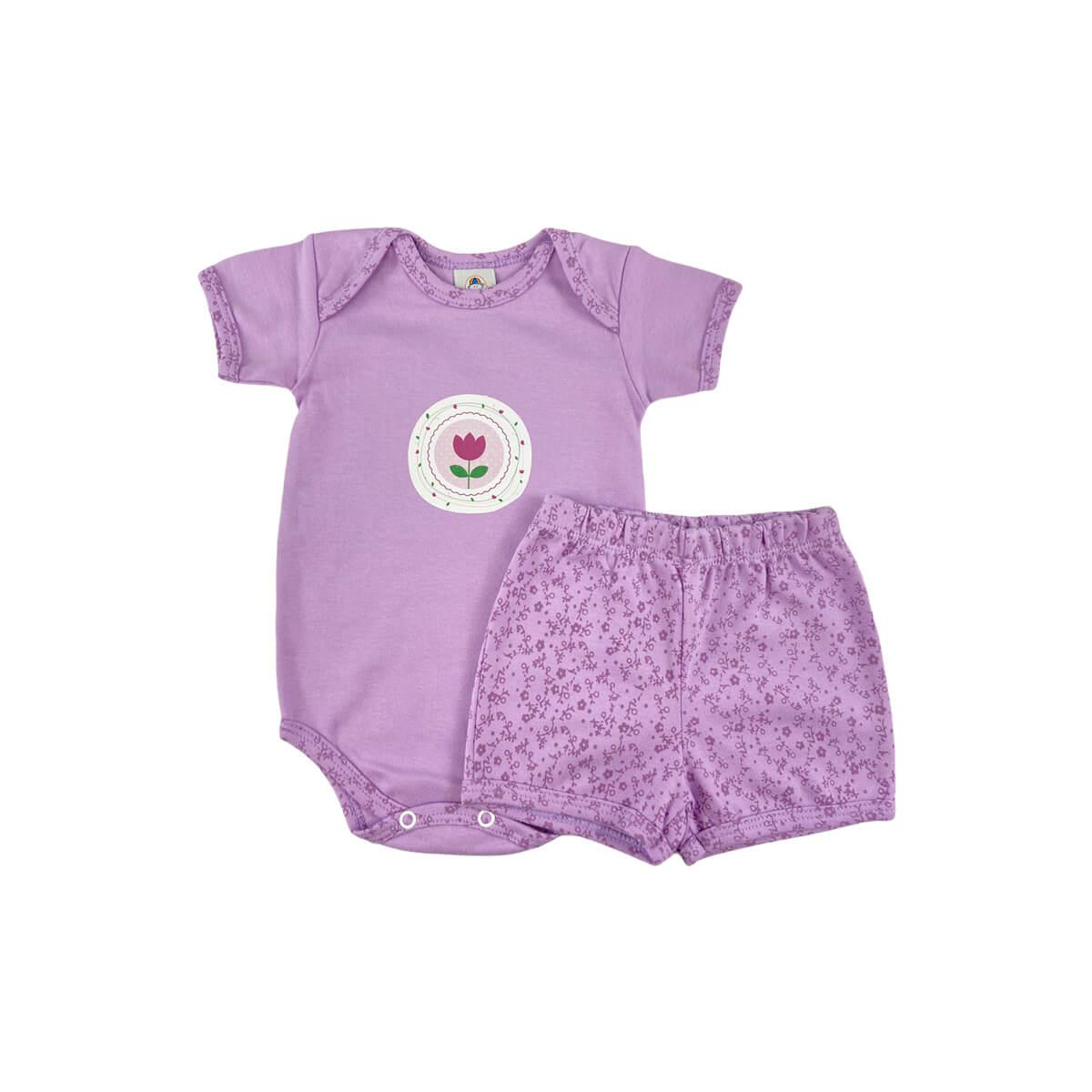 Conjunto Bebê Curto Floral Lilás  - Piu Blu