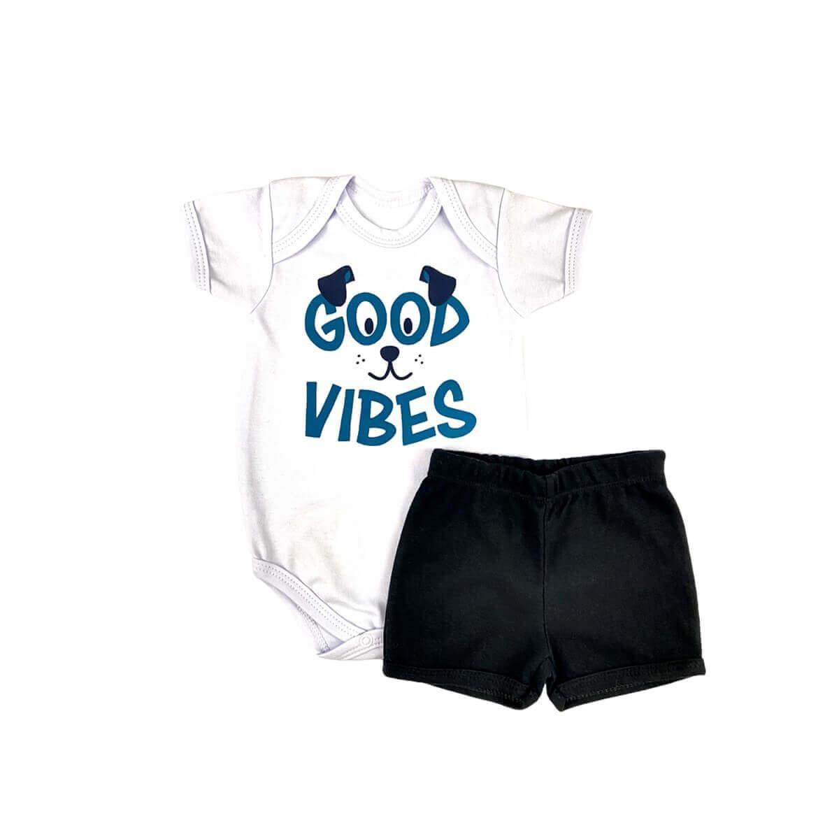 Conjunto Curto Good Vibes Preto