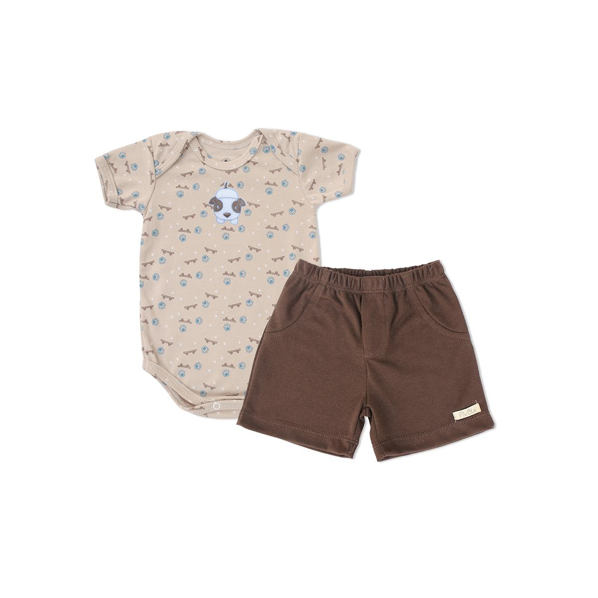 Conjunto Bebê Curto Masculino Cachorrinhos  - Piu Blu