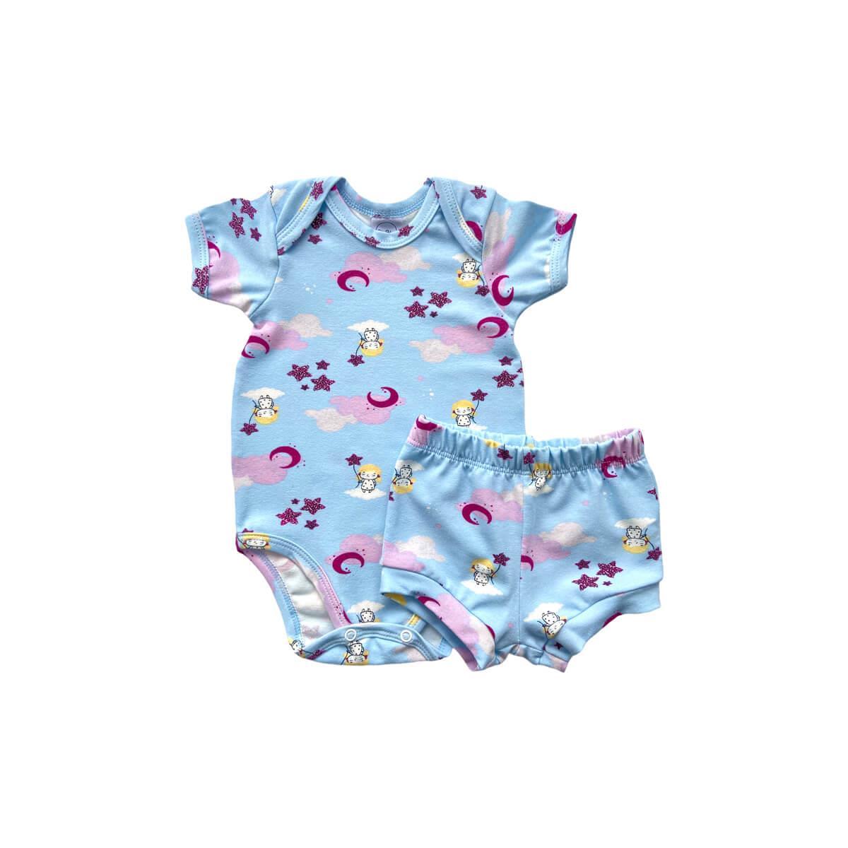 Conjunto Curto Nuvens Azul Bebê