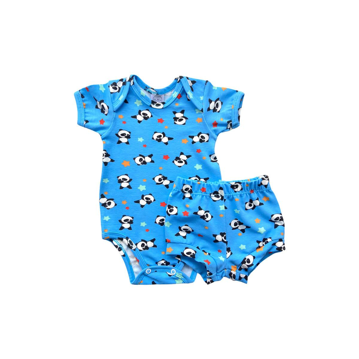 Conjunto Curto Panda Azul