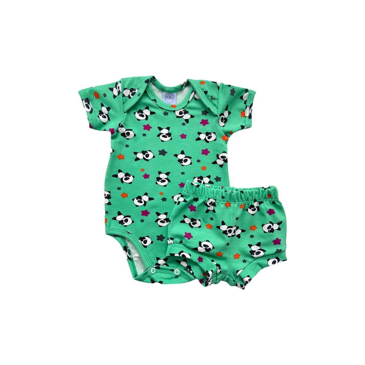 Conjunto Curto Panda Verde