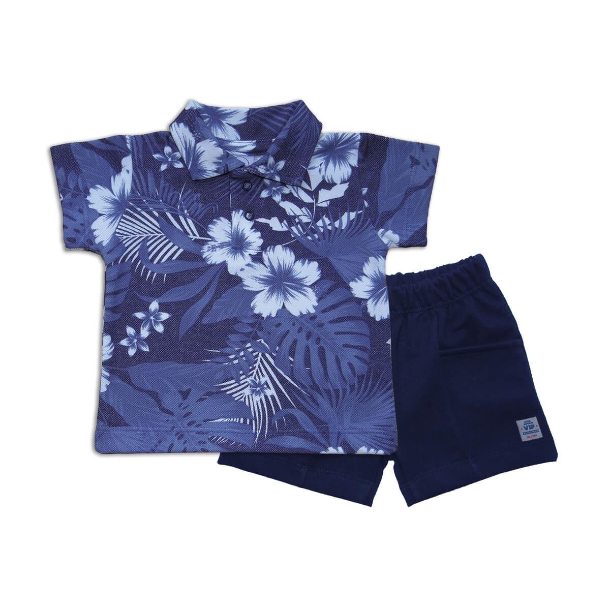 Conjunto Curto Polo Ibisco Azul